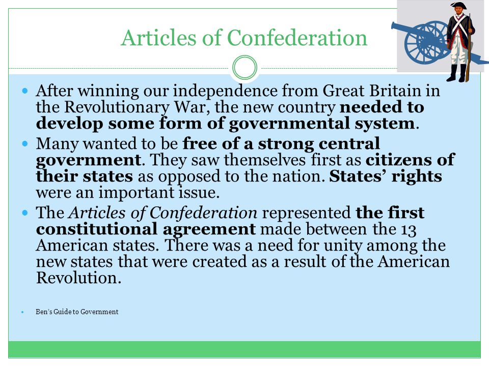 the articles of confederation as a form of government in the united states The constitution of the united states established america's national government and fundamental laws, and guaranteed certain basic rights for its citizens  the articles of confederation, the.