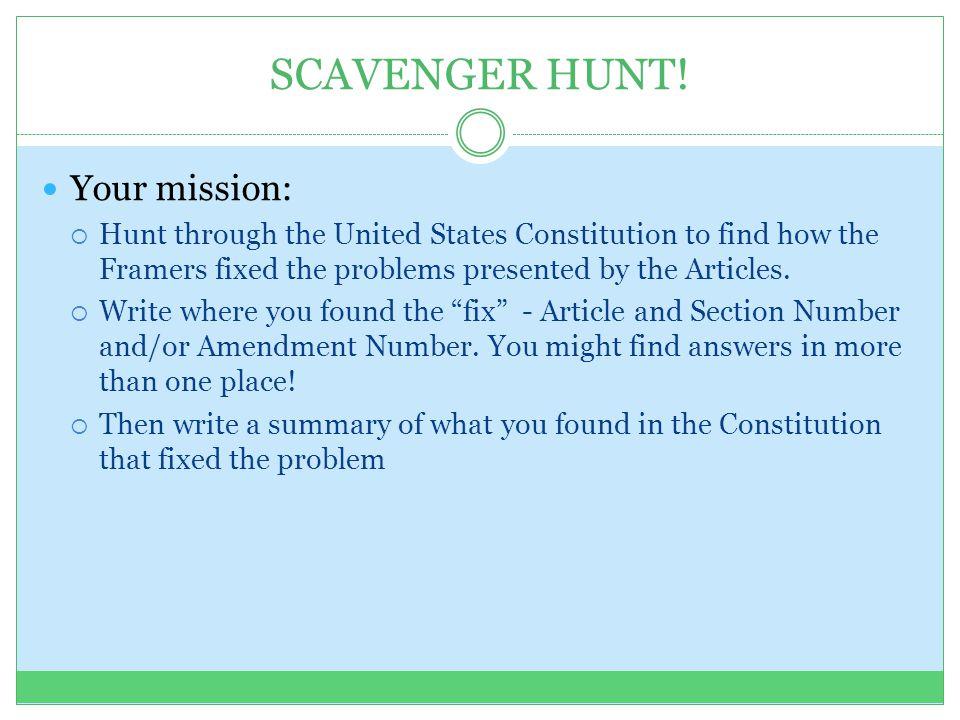 SCAVENGER HUNT! Your mission:
