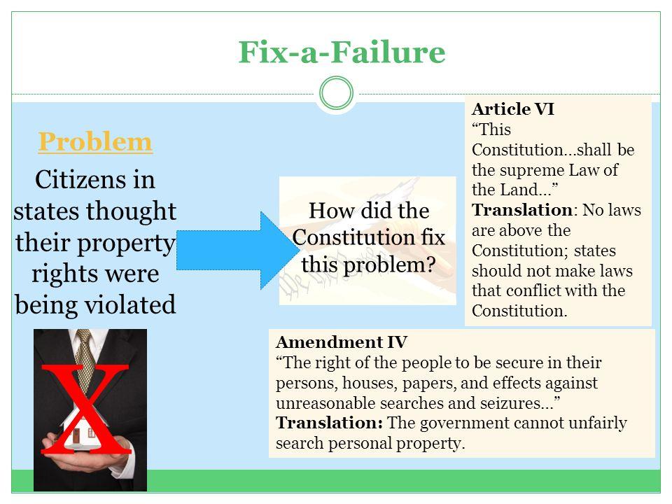 X Fix-a-Failure Problem