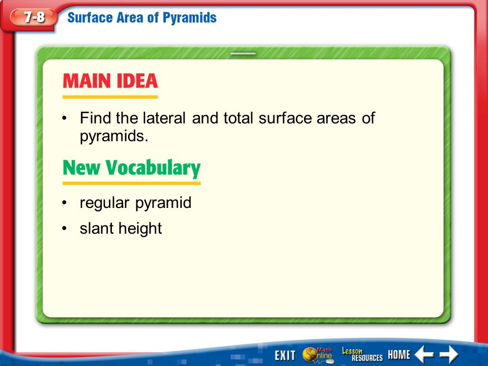 Find the lateral and total surface areas of pyramids.