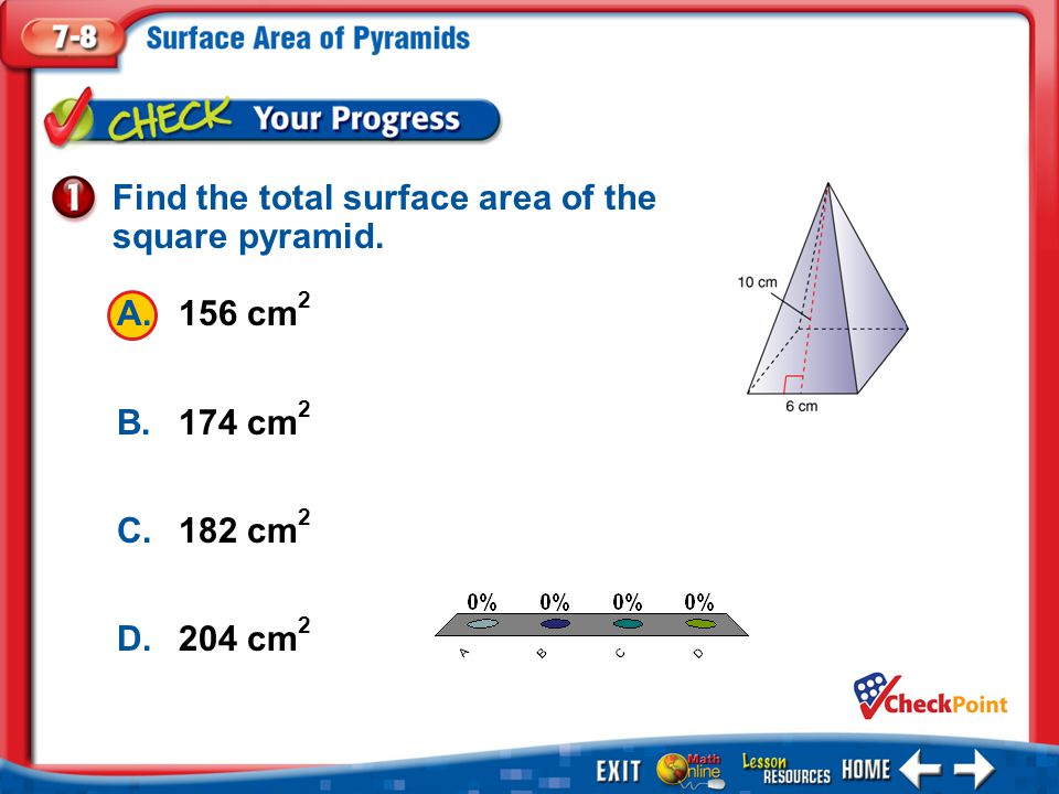 Find the total surface area of the square pyramid.