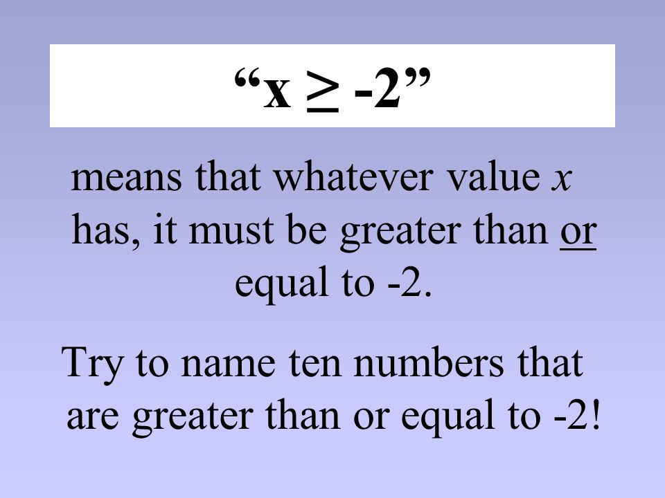 Try to name ten numbers that are greater than or equal to -2!