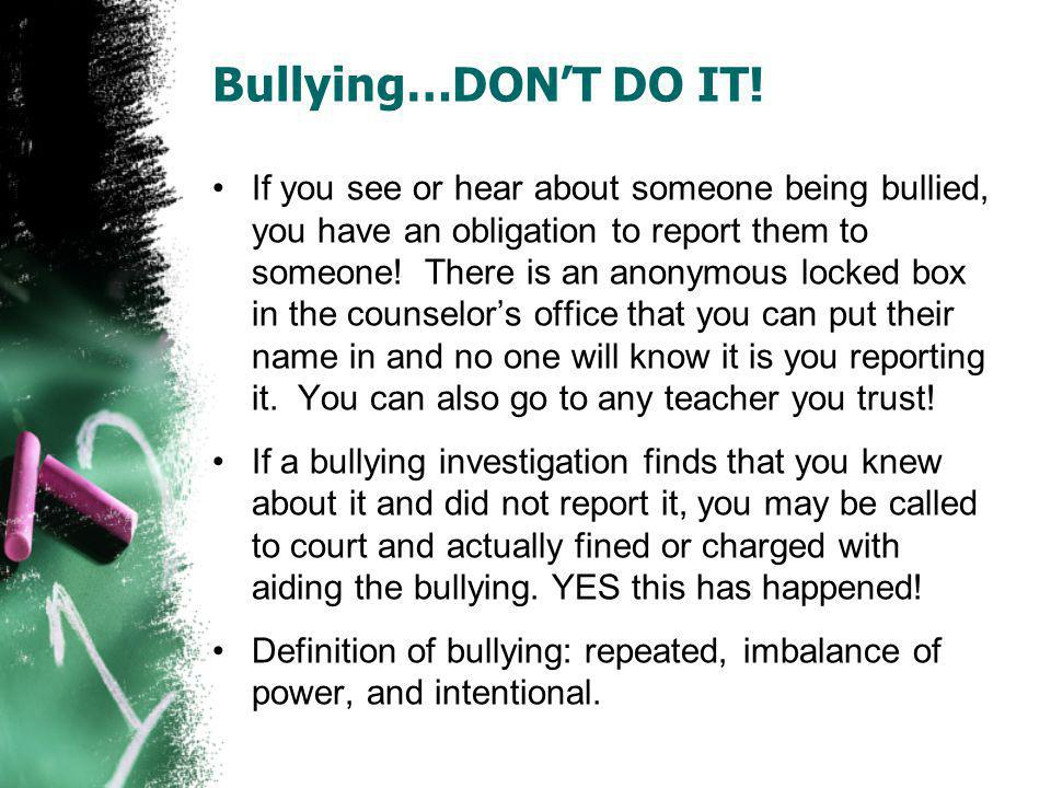 Bullying…DON'T DO IT!