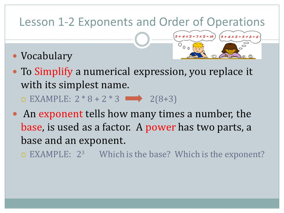 Lesson 1-2 Exponents and Order of Operations