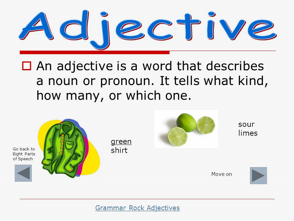 Grammar Rock Adjectives