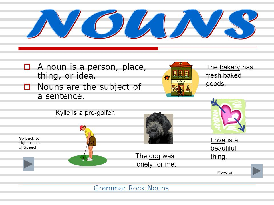 NOUNS A noun is a person, place, thing, or idea.