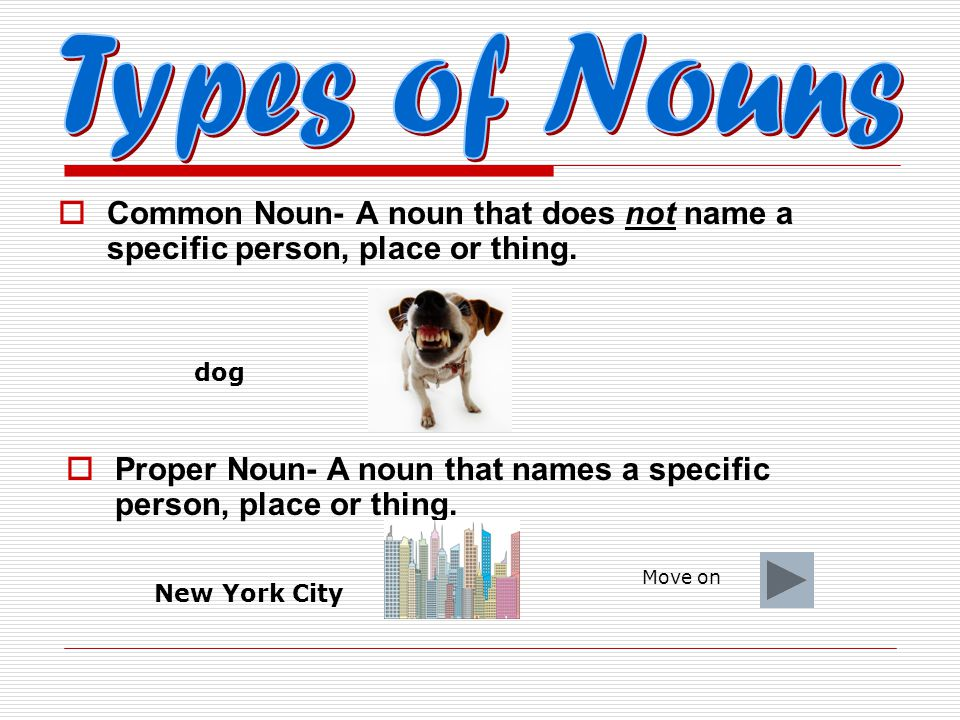 Types of Nouns Common Noun- A noun that does not name a specific person, place or thing. dog.