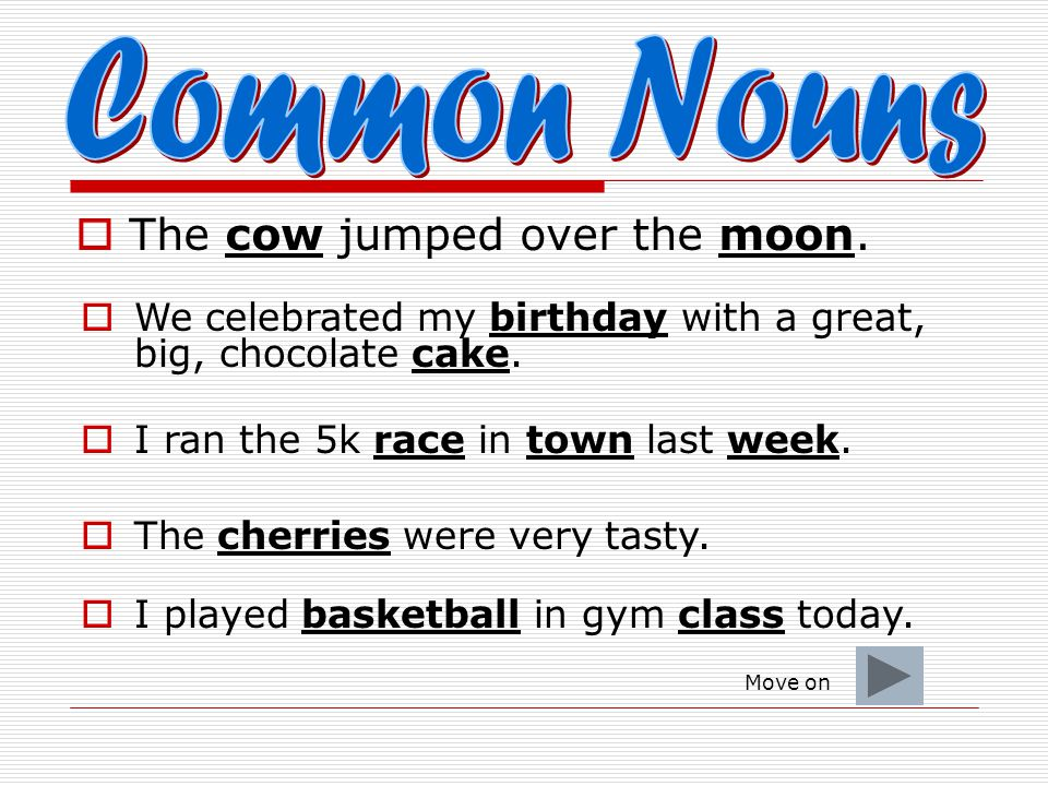 Common Nouns The cow jumped over the moon.