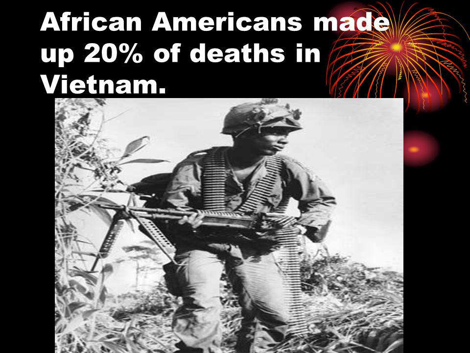 African Americans made up 20% of deaths in Vietnam.
