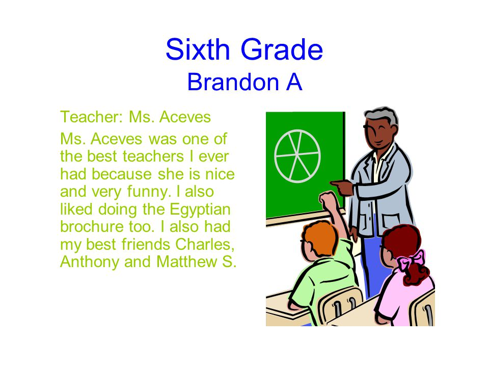 Sixth Grade Brandon A Teacher: Ms. Aceves