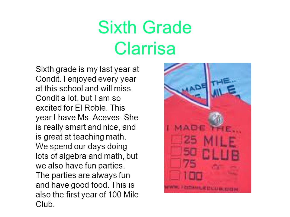 Sixth Grade Clarrisa