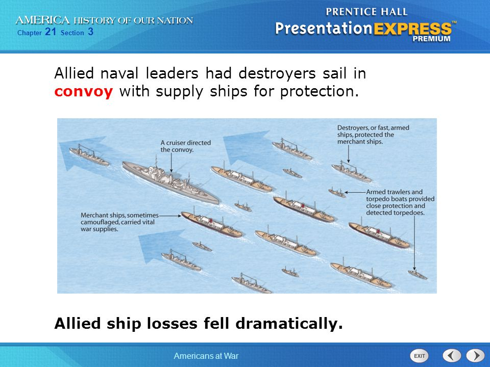 Allied naval leaders had destroyers sail in convoy with supply ships for protection.