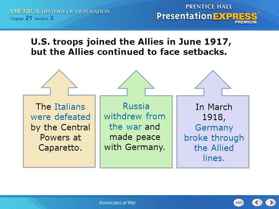 The Italians were defeated by the Central Powers at Caparetto.