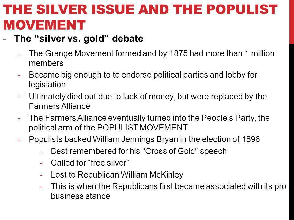 The Silver Issue and the Populist Movement