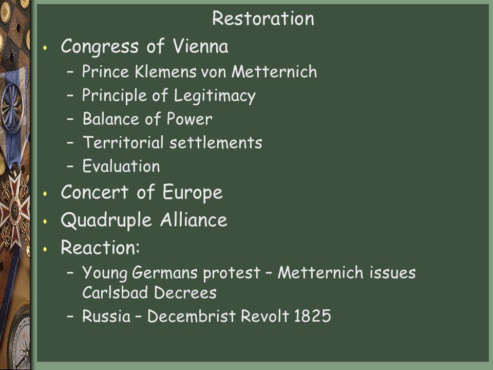 Restoration Congress of Vienna Concert of Europe Quadruple Alliance