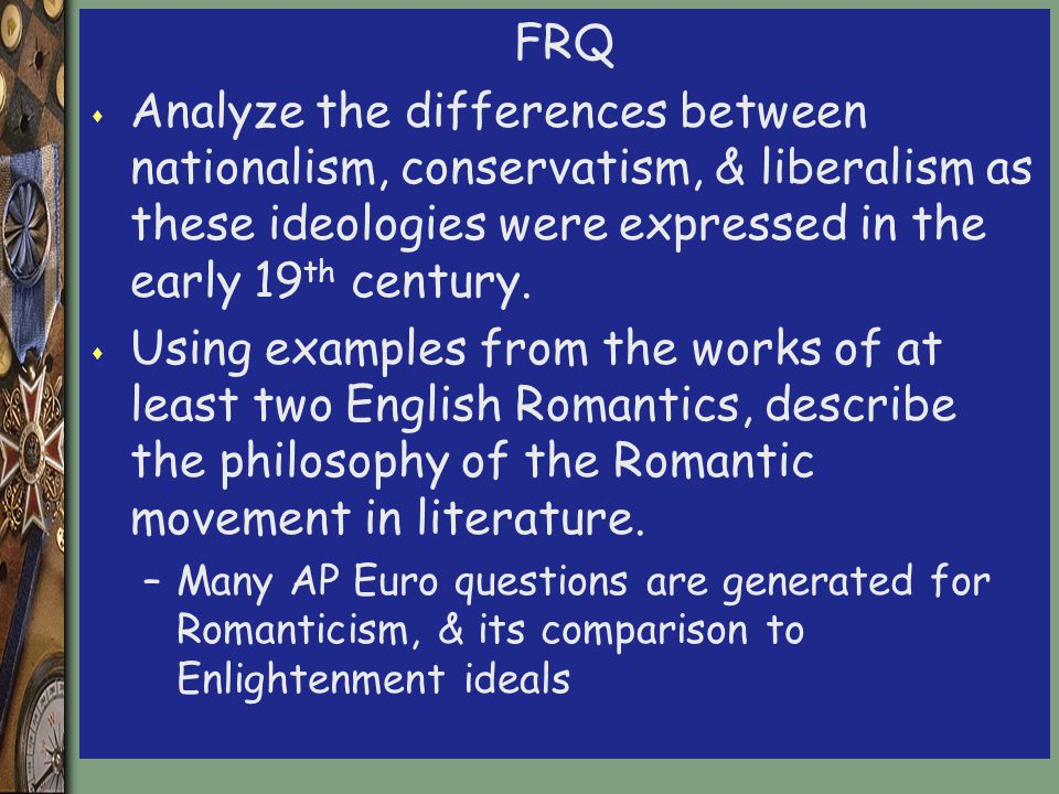 a comparison of changes in the enlightenment and romantic era Romanticism and age of reason the age of reason or the enlightenment symbolizes the attitude and ethnicity of the 18th which embodied the romantic movement.