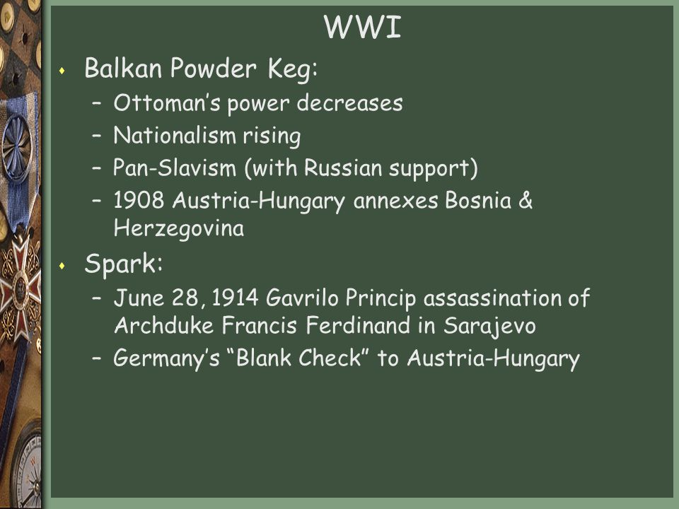 WWI Balkan Powder Keg: Spark: Ottoman's power decreases