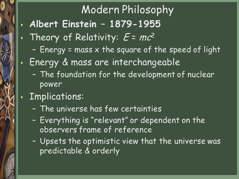 Modern Philosophy Albert Einstein – 1879-1955