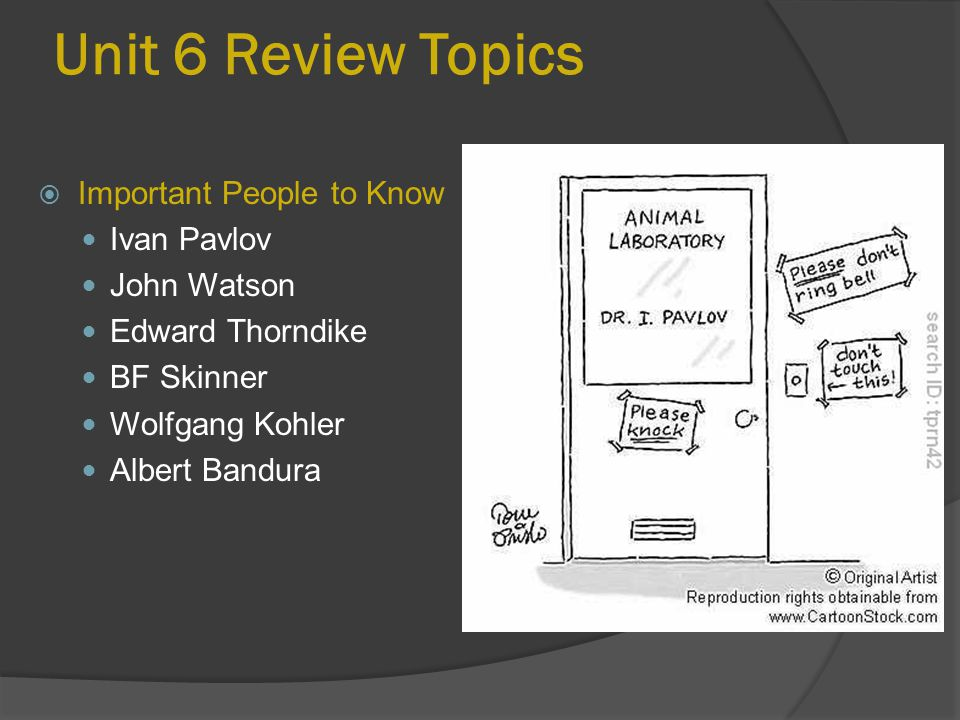 Unit 6 Review Topics Important People to Know Ivan Pavlov John Watson