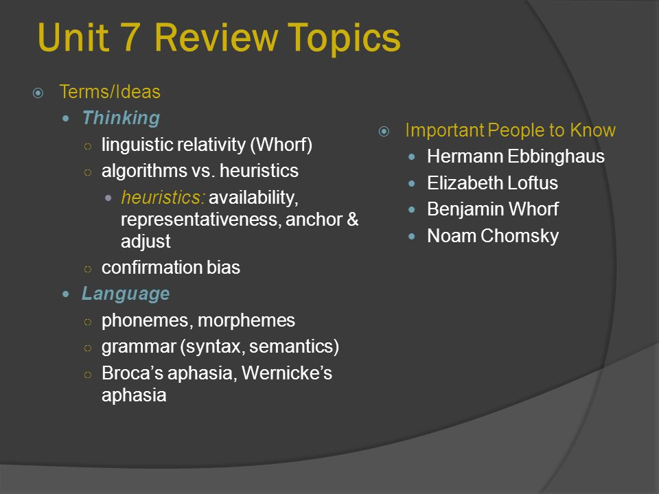 Unit 7 Review Topics Terms/Ideas Thinking