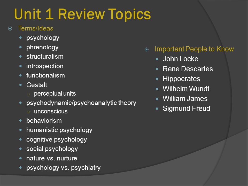 Unit 1 Review Topics Important People to Know John Locke