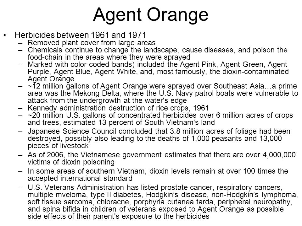 Agent Orange Herbicides between 1961 and 1971