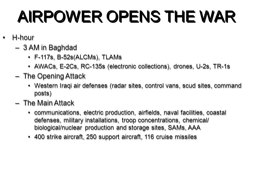 AIRPOWER OPENS THE WAR H-hour 3 AM in Baghdad The Opening Attack
