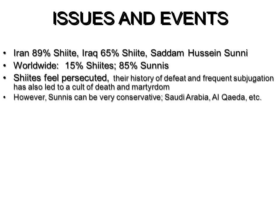 ISSUES AND EVENTS 4/6/2017. Iran 89% Shiite, Iraq 65% Shiite, Saddam Hussein Sunni. Worldwide: 15% Shiites; 85% Sunnis.