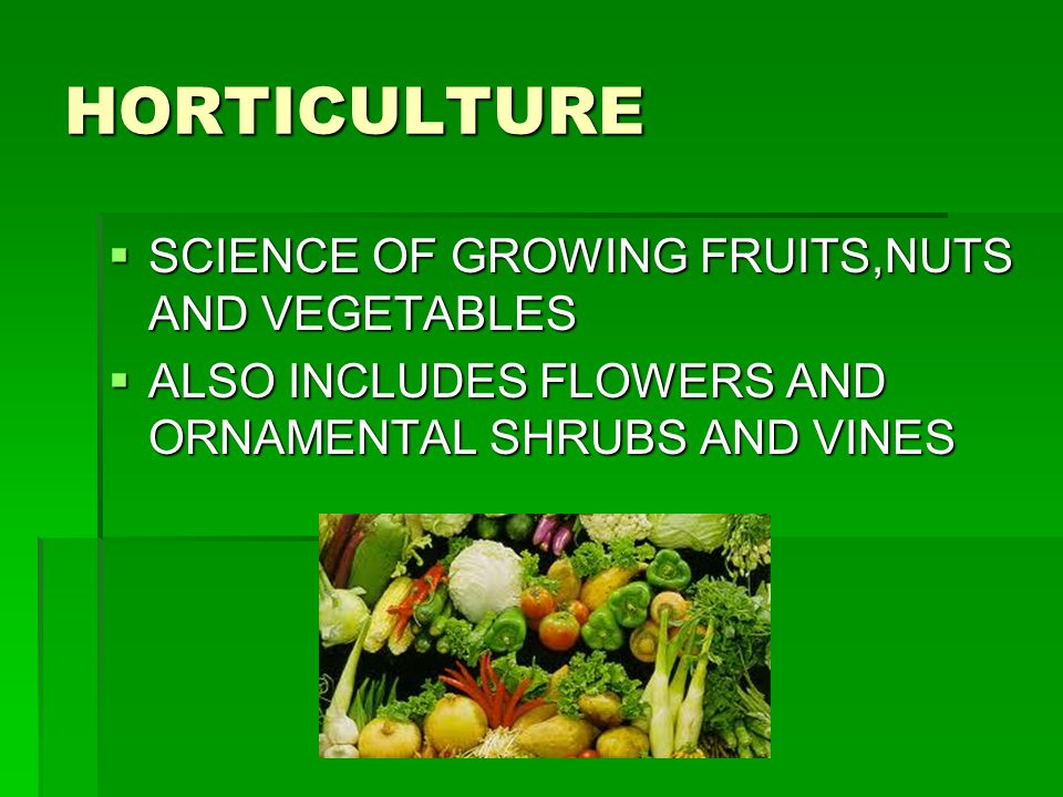 HORTICULTURE SCIENCE OF GROWING FRUITS,NUTS AND VEGETABLES
