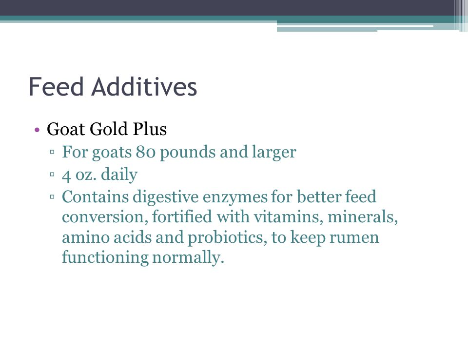 Feed Additives Goat Gold Plus For goats 80 pounds and larger