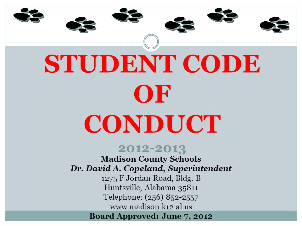 STUDENT CODE OF CONDUCT 2012-2013