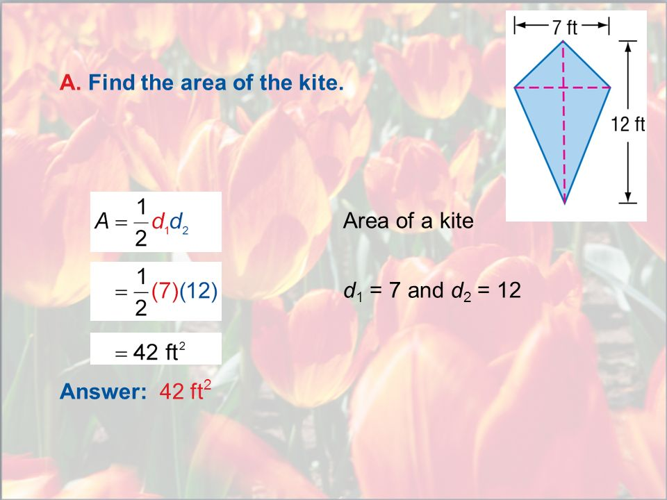 A. Find the area of the kite.