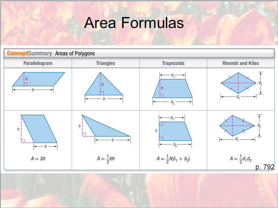 Area Formulas p. 792
