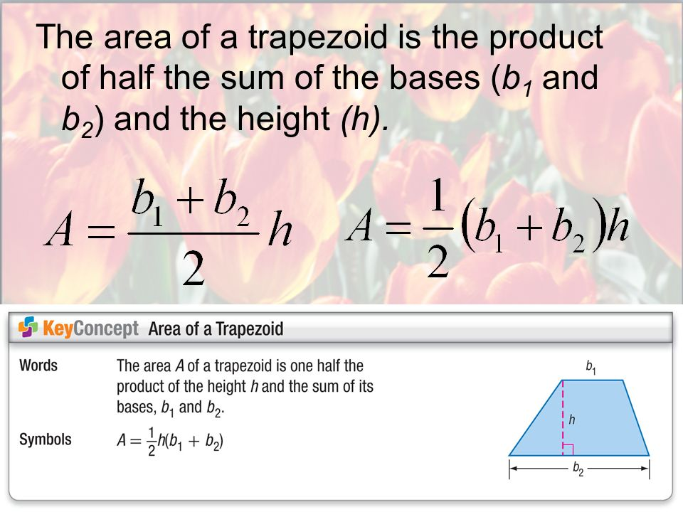 The area of a trapezoid is the product of half the sum of the bases (b1 and b2) and the height (h).