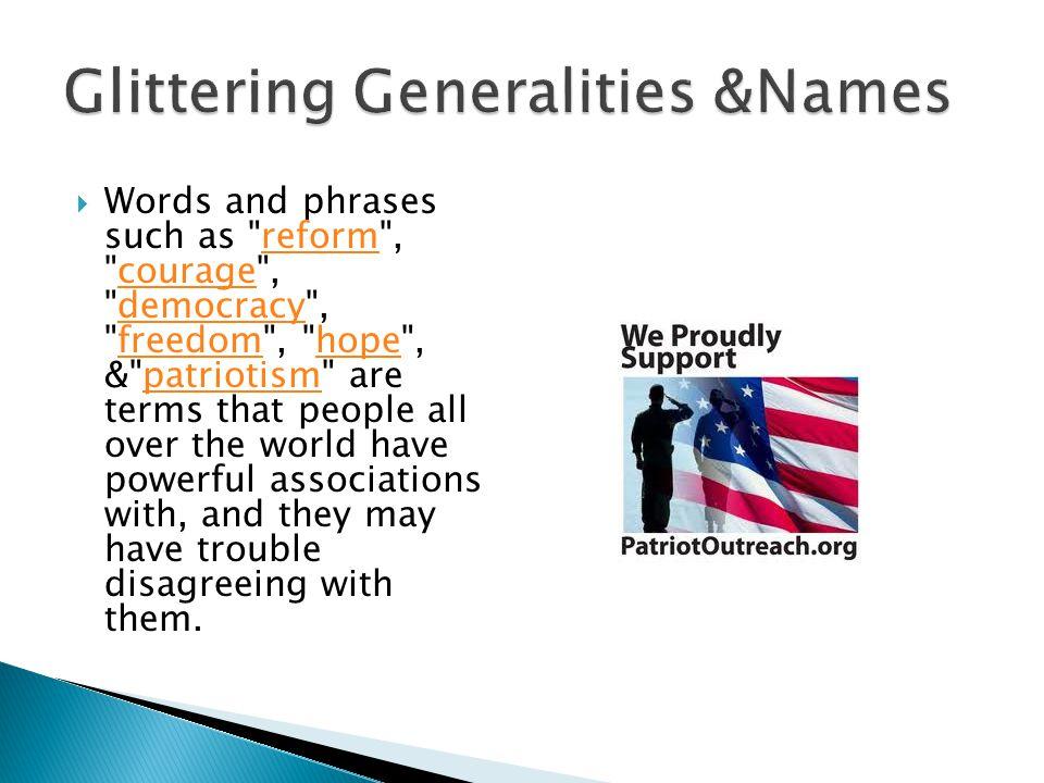 Glittering Generalities &Names
