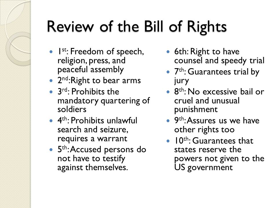 Review of the Bill of Rights