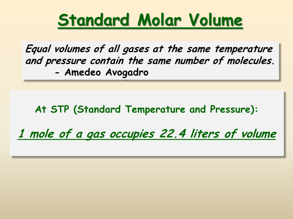 Standard Molar Volume 1 mole of a gas occupies 22.4 liters of volume