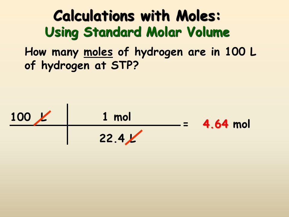 Calculations with Moles: Using Standard Molar Volume