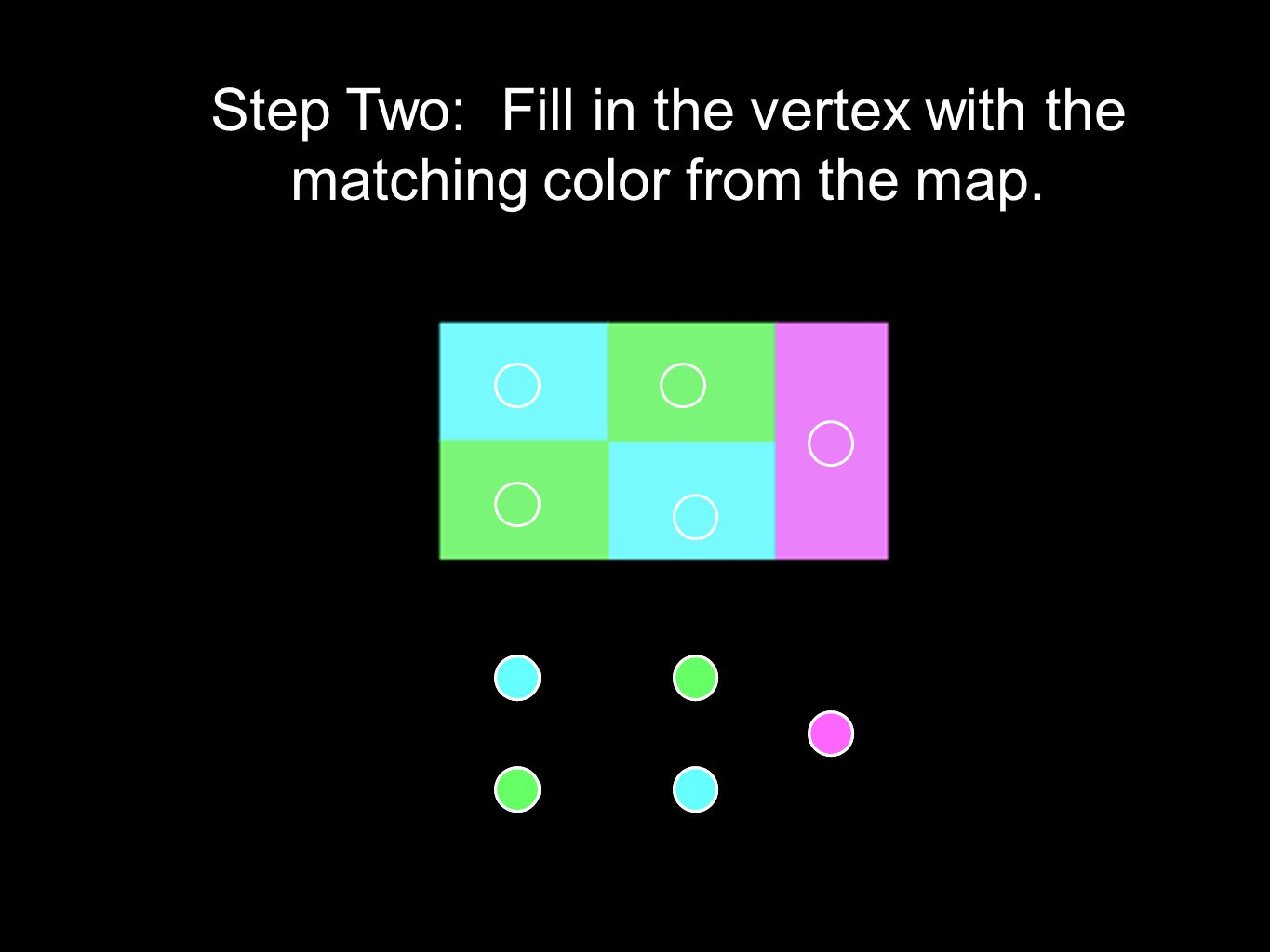 Step Two: Fill in the vertex with the matching color from the map.