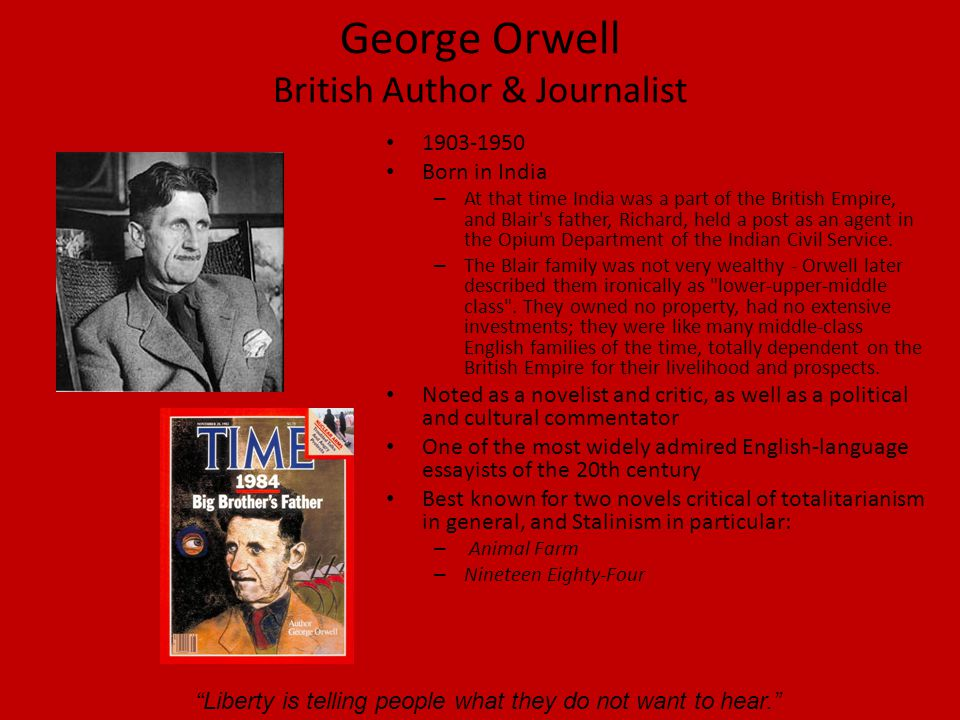 George Orwell British Author & Journalist