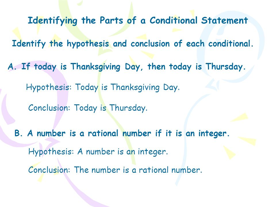 Identifying the Parts of a Conditional Statement