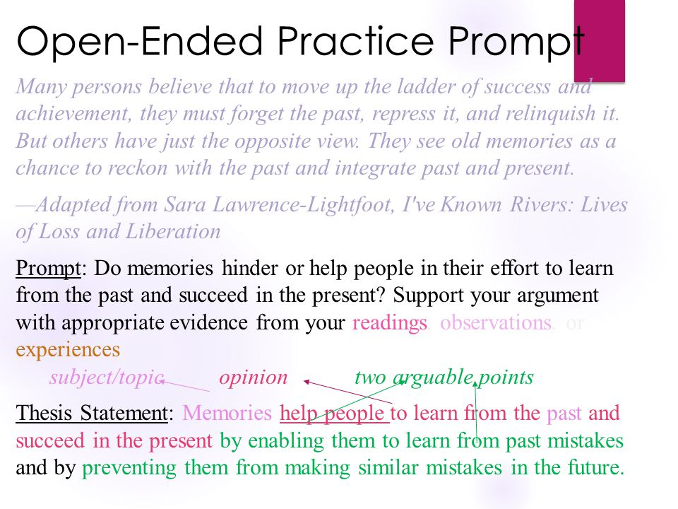 Open-Ended Practice Prompt