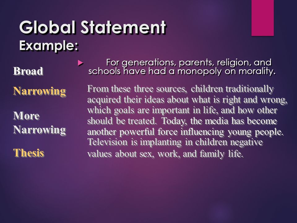 Global Statement Example: