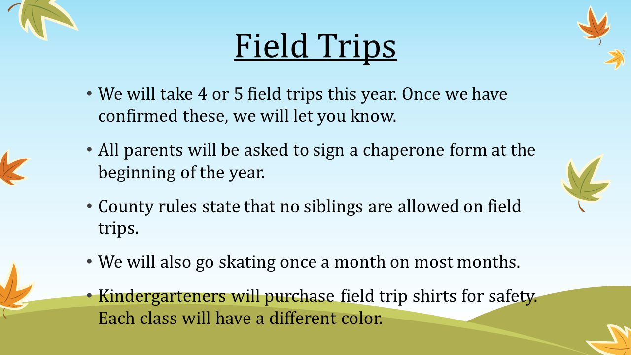 Field Trips We will take 4 or 5 field trips this year. Once we have confirmed these, we will let you know.
