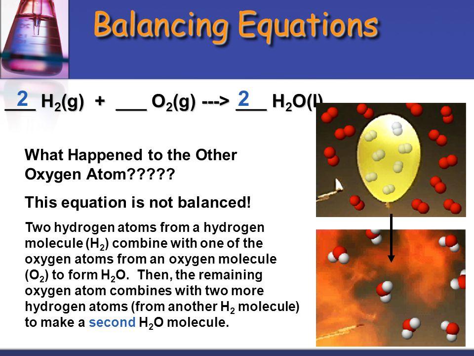 Balancing Equations 2 2 ___ H2(g) + ___ O2(g) ---> ___ H2O(l)