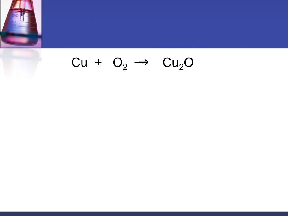 Cu + O2 g Cu2O