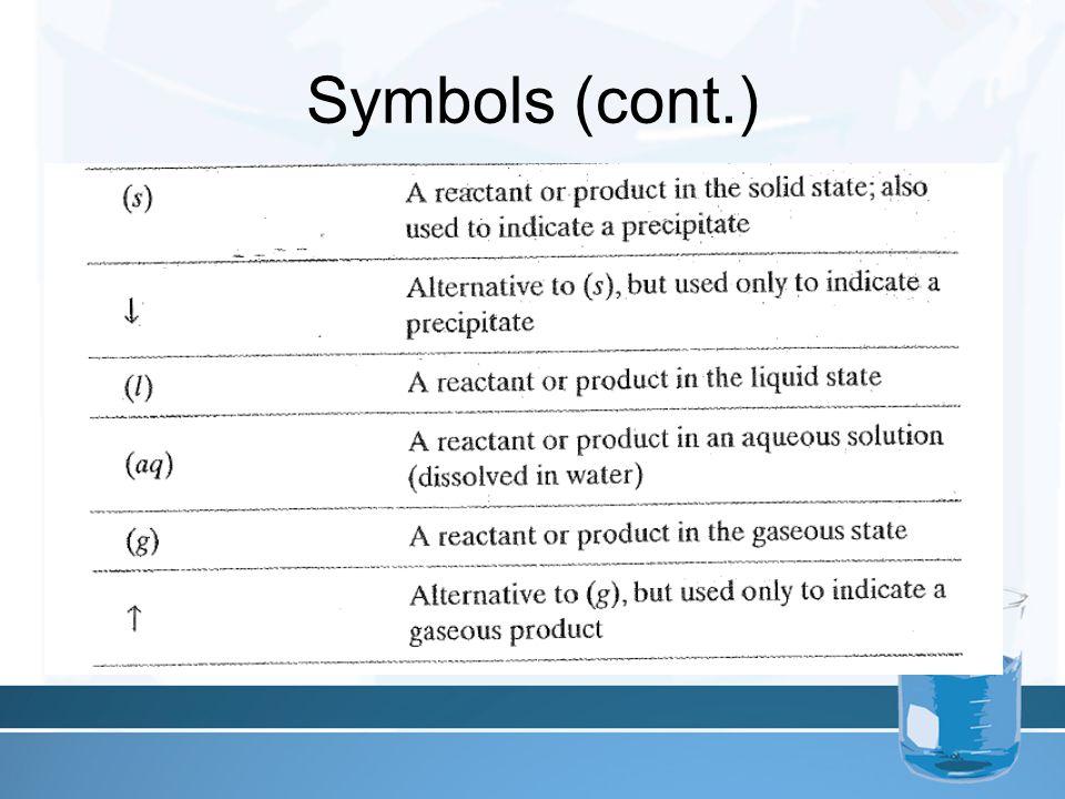Symbols (cont.)
