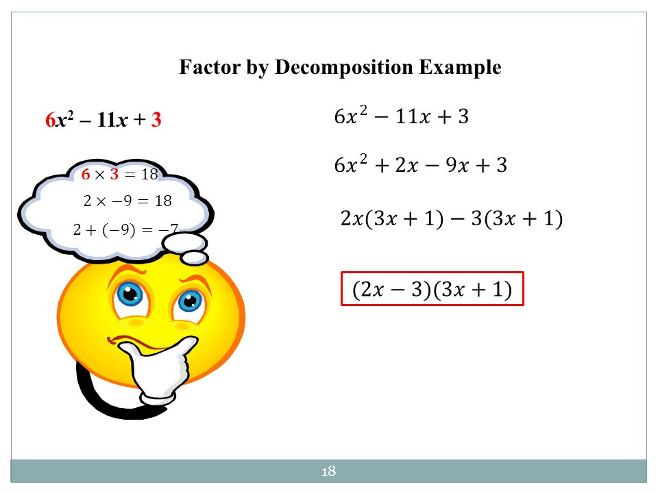 Factor by Decomposition Example