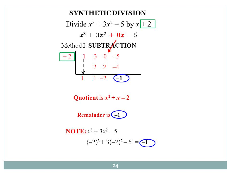 Divide x3 + 3x2 – 5 by x + 2 SYNTHETIC DIVISION 𝒙𝟑 + 𝟑𝒙𝟐 + 𝟎𝒙 −𝟓