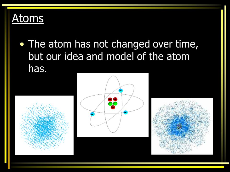 Atoms The atom has not changed over time, but our idea and model of the atom has.